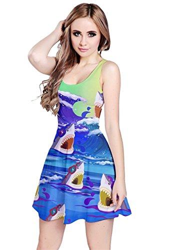 Kleid Shark (CowCow Damen Kleid blau navy Gr. 52, Sharks in)