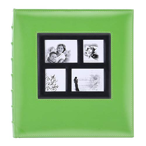 15 Fotos große Kapazität Hochzeit Familie Ledereinband Fotoalben Fotoalbum für Hochformat und Querformat 4x6 Fotos mit schwarzen Seiten 500 Pockets grün ()