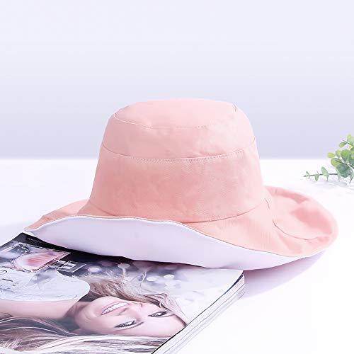 Doppelseitiges Hut weiblicher Sommer große Krempe Sonnenhut Sonnenhut UV-Sonnenschutz (Pink)