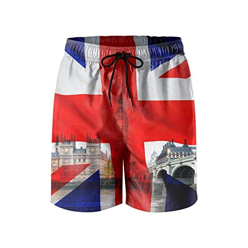 ARTOPB Union Jack & London Mens Swim Trunks Quick Dry Board Shorts Swimwear for Men with Pockets,L (London Jacks Halloween)