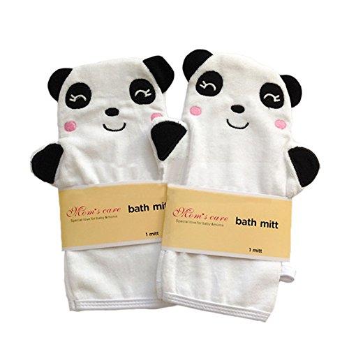 Ensemble de 2 molle bille de bain / joli bain mitt, panda