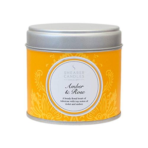 Shearer Candles Bougie Spring Couture dans une boîte en inox Senteur ambre et rose 7,5 x 7,2 cm