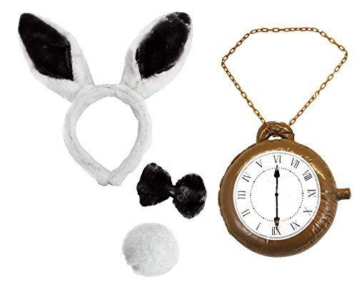 weiß Hase Ohren +Fliege +Schwanz +riesige Uhren Buch Woche Kostüm (Paar Alice Kostüme Im Wunderland)