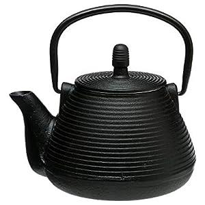 Théière en fonte 1l Line coul: Noir Thé Tisane - infusion - peut s'utiliser avec du thé vert, thé blanc, thé noir, Rooibos, les infusions fruitées, les mélanges de Maté, les infusions épicéés Chai