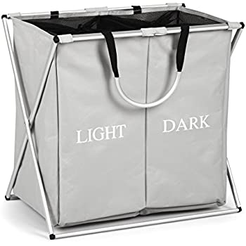 Dokehom dka0203gy large 2 sections laundry basket foldable washing basket fabric laundry - Whites and darks laundry basket ...