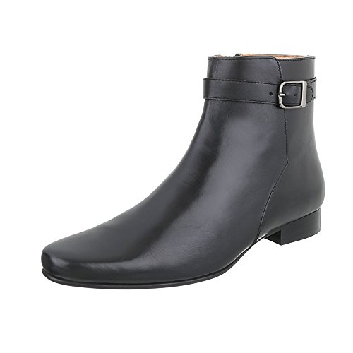 Stiefeletten Leder Herren-Schuhe Chelsea Boots Blockabsatz Blockabsatz Reißverschluss Ital-Design Boots Schwarz, Gr 43, 220954-