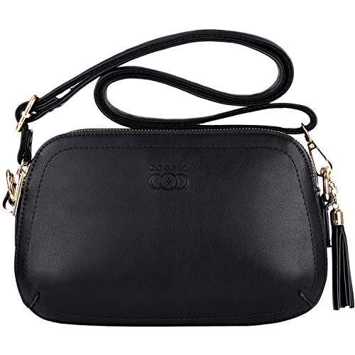 , COOFIT Handtasche Damen Schwarz Leder Klein Schultertasche Damen Casual Crossbody Messenger Handbags for Women Tasche (Schwarz) ()