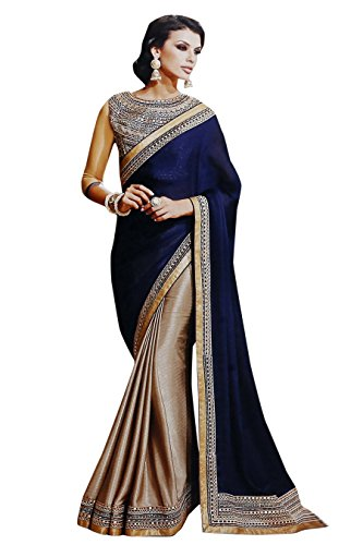 Sarees (Women\'s Clothing Saree For Women Latest Design Wear Sarees Collection in Blue Coloured Georgette Material Latest Saree With Designer Blouse Free Size Beautiful Bollywood Saree For Women Party