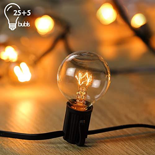 Wellead Lichterkette Weihnachten Glühbirnen Lichterkette Außen Wasserdichte String Licht Clip Hut Schnurlichter Hängend im Garten 25FT 25 Glühbirnen 5 Ersatzglühlampen -Warmes Gelb -