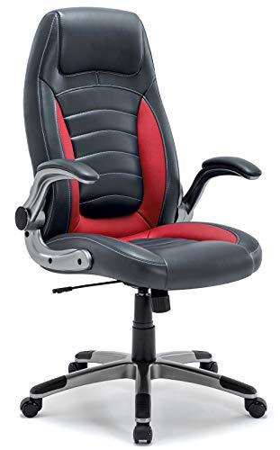 Bürostuhl, Ergonomischer Schreibtischstuhl, Bürodrehstuhl mit Hoher Rückenlehne und gepolsterten Armlehnen, 360°verstellbarer Chefsessel, Höhenverstellung und Wippfunktion für Büroarbeit (Rot)