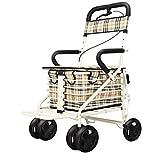 Ausilio per la deambulazione Walker rollator / walker rollator per lo shopping / walker rollator con sedile leggero antiscivolo anziano carrello pieghevole trolley old man con ruote con sedile walker