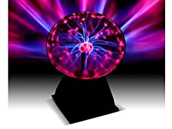 "Fineway@ New Disco Party 8"" Plasma Globe Light Glowing Table Lamp Sound & Touch Activated"