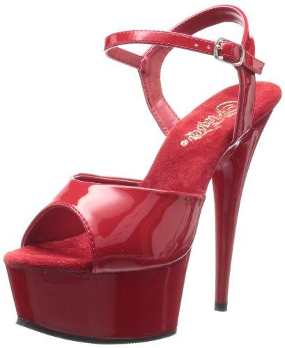 6m Heels (Pleaser DELIGHT-609, Damen Plateau Sandalen, Rot (Rot (Red Pat/Red)), 36 EU (3 Damen UK) (6 M US))