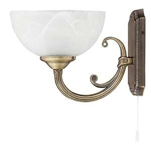 Applique Lampe Luminaire Murale Intérieur Style Art Nouveau Bronze / Verre Albâtre 1/1/792