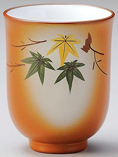 Yamakiikai poterie Reddish Brown Japonaise Tasses à Thé Yunomi Feuilles d'automne Fy1071