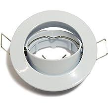 Aro empotrable circular fijo o basculante. Oculo. Ojo de buey para dicroicas. Halógenas o LED (Blanco (basculante))