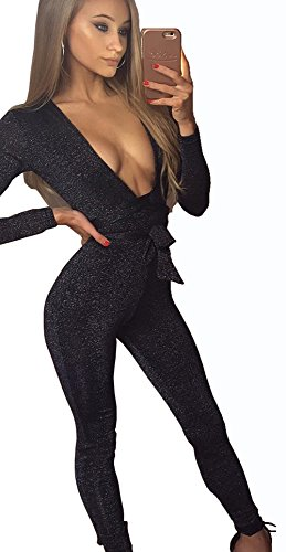 Longwu Women's Sexy Sparkly V Neck Long Sleeve Party Clubwear Bandage Romper Jumpsuit