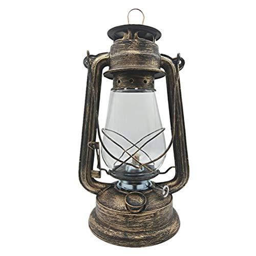 Eisen Outdoor-hängenden Laterne (OSALADI Retro nostalgische Eisen Petroleumlampe tragbare hängende Laterne Outdoor Camping Licht (Bronze))