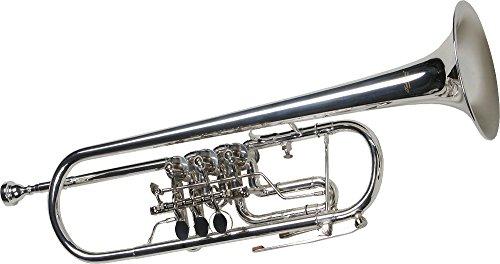 Karl Glaser Konzert Trompete, versilbert, Drehventile, Koffer, Mundstück