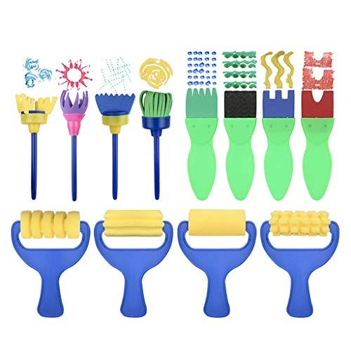 Sulifor Kinder-Malschwamm-Set 25-teiliges Set + EIN wasserdichtes Hemd, Kinder-Farbschwamm 25 interessante Kinder-Pinsel