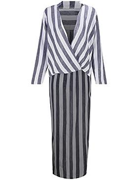 Beauty7 Falda de Raya de Blanco y Negro de Manga Larga Cuello-V Irregular Capa Casual Vestido Camiseta Top para...