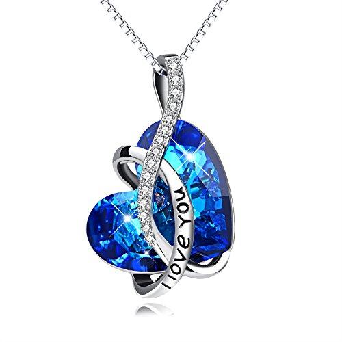 """Kette Sterling Silber """"l Love You"""" Halskette Damen mit Kristallen von SWAROVSKI Kristallherz (Ich liebe dich)"""