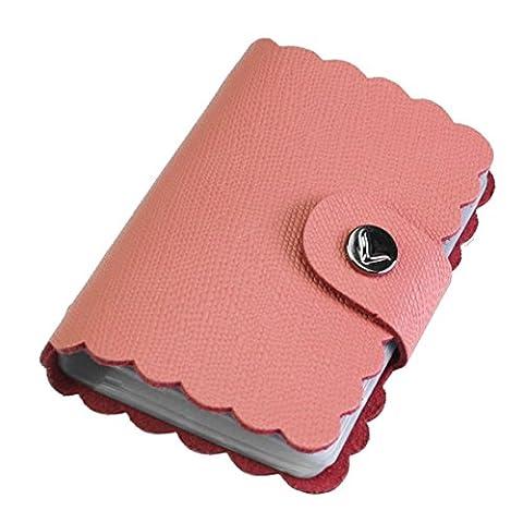 kilofly Porte-cartes–Style Rétro avec 26cartes poches, avec pince Mini carte cadeau incluse taille unique pink C