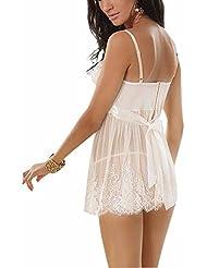 FEESHOW Lencería Ropa interior de 2 piezas Correa de Encaje Blanca para Mujer