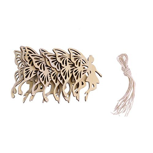 ultnice Holz Deko Anhänger Fairy Angel 's Wings Form Party Ornament mit String Pack von 10 (Angel Ornament Wing)
