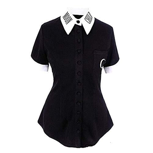 TOPSELD T Shirt Damen, Frauen Mond Gothic Punk Schwarz V-Ausschnitt, Button-Down Top Kurzarm T-Shirts