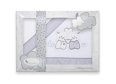 Sabanas de Invierno CORALINA Extrasuave MINICUNA 50x80 - (bajera+encimera+funda almohada) - Color: Blanco/Gris - OFERTA