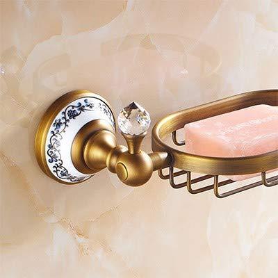 Xiang Badezimmereingriffsgarnitur des Goldgoldkristallseifetellers Goldener Seifenkorb, antik -