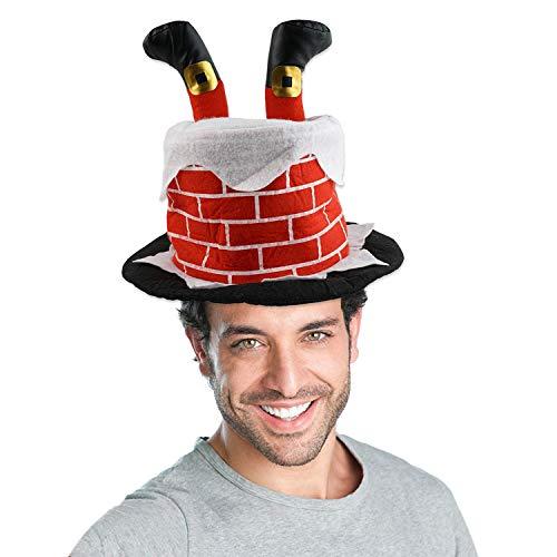 (Kompanion Weihnachtsmütze Kamin mit Aufbewahrungstasche, Weihnachtskostüm und Zubehör, Lustige Weihnachtsmütze für Erwachsene und Kinder)
