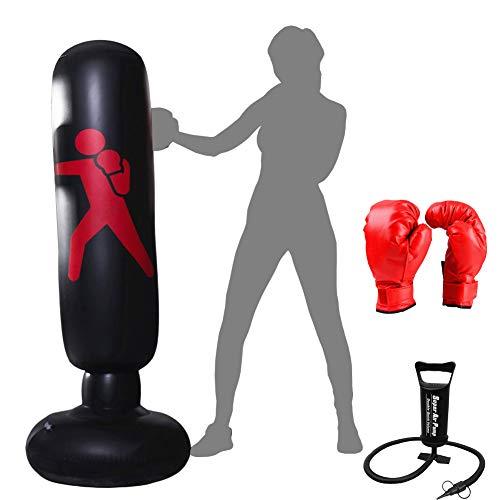 Xloves Boxsack Kinder 160 cm, Standboxsack Boxsack Stehend Aufblasbare Boxsäcke Tumbler Kinder Fitness Dekompression Sandsäcke Kick Kampftraining, Mit manueller Luftpumpe und Boxhandschuhen