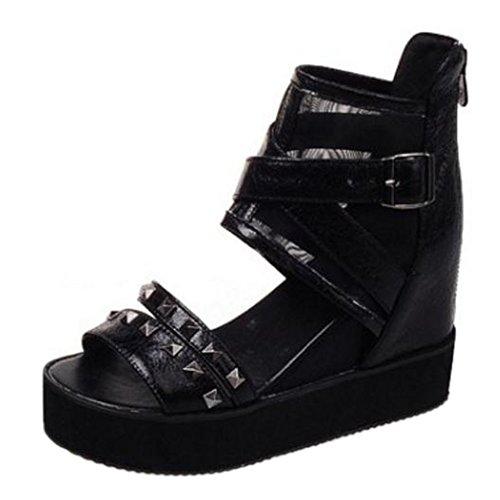 TAOFFEN Femmes Bout Ouvert Sandales Black