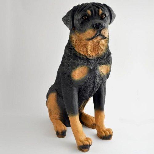 Großer Deko Hund # HUNDEFIGUR # sitzender Rottweiler XXL