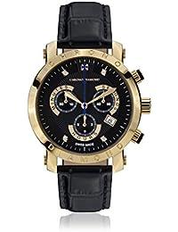 Chrono Diamond 82131_schwarz-41 mm - Reloj para hombres, correa de cuero color negro