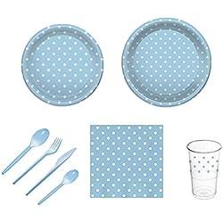 Pack para Fiesta Infantil o cumpleaños con diseño de Lunares - Color Azul - Set de vajilla de plástico para 12 Personas - 120 Piezas