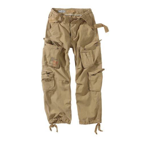 Surplus Raw Vintage Airborne Trousers Herren Cargo Hose, Beige, XL - Herren-baggy-hose