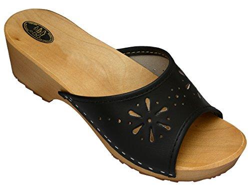 BeComfy Damen Clogs Holzschuhe Leder Holz Pantoletten mit Absatz Sandalen Bunte Farben Modell VK10 (39, Schwarz) (Schuhe Wonder C)