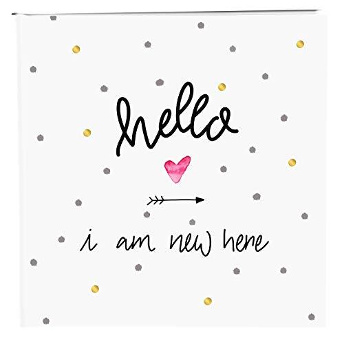 Goldbuch Baby-Fotoalbum, Hello I am New here, 25 x 25 cm, 60 Seiten, Pergamin-Trennblätter, Kunstdruck, Weiß/Gold, 24 319 -