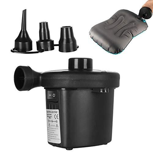 AOZBZ Elektrische Luftpumpe Tragbare Schnellfüllpumpe mit 3 Düsen Aufblasen Entleeren Pumpe für Outdoor Camping Aufblasbare Kissen Luftmatratze Betten Schwimmring