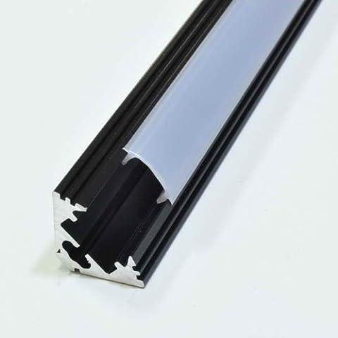 Alu Profil Schwarz Aluminum Eloxiert 1m Abdeckung Opal P3 für LED Streifen