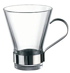 Bormioli Rocco Ypsilon Coffee Cups with Metal Handle, Clear, Set of 24