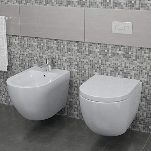 Import For Me Sanitari Sospesi Vortix in Ceramica WC Senza brida Tavoletta e Bidet