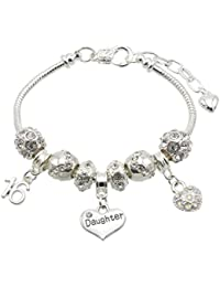 Jewellery Hut Daughter Birthday Charm Bracelet with Gift Box - Ages Available 13, 15, 16, 18, 20, 21, 25, 30, 35, 40, 45 & 50