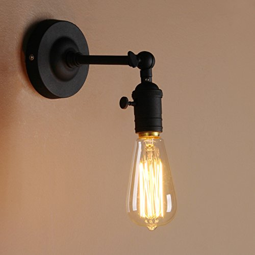 Pathson Antik Deko Design Wandbeleuchtung Wandleuchten Vintage Industrie Loft-Wandlampen Wandbeleuchtung (Schwarz Farbe)