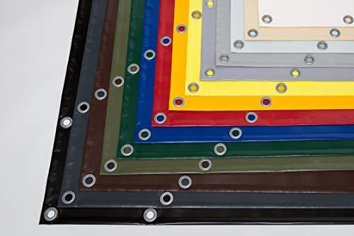 (610g/m²) LKW Plane, PVC Plane mit 12mm Ösen, verschiedene Farben, OHNE SAUM (2,5m x 5m, Anthrazit RAL7016)