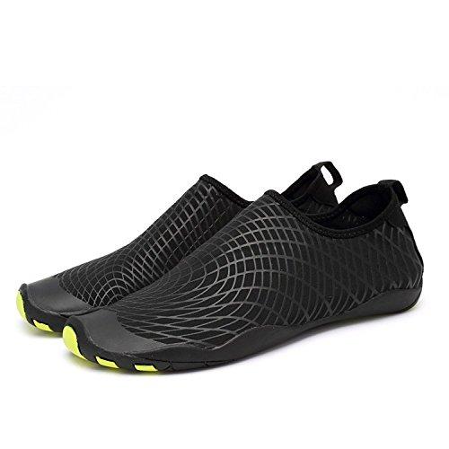 LeKuni Badeschuhe Damen Herren Schwimmschuhe Kinder Surfschuhe Barfuß Schuhe Wasserschuhe Strandschuhe Aquaschuhe Rutschfeste Neoprenschuhe(49EU,ZZW_Schwarz) Schuh Größen