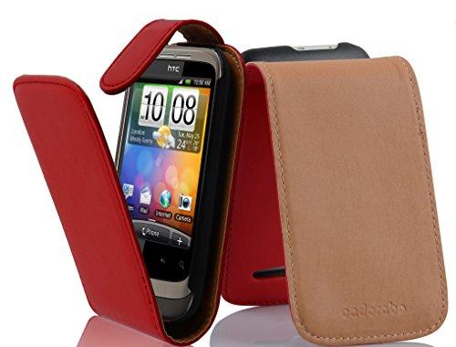 Cadorabo - Flip Style Hülle für HTC WILDFIRE S - Case Cover Schutzhülle Etui Tasche in CHILI-ROT